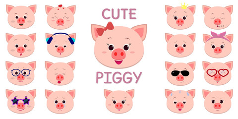 Cute piggy character in the style of a cartoon, a lot of different emotions and accessories.