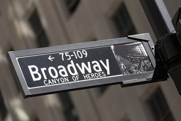 Broadway sign in lower Manhattan, New York City, USA.