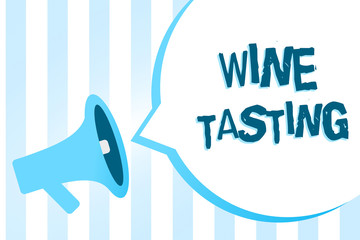 Handwriting text writing Wine Tasting. Concept meaning Degustation Alcohol Social gathering Gourmet Winery Drinking Megaphone loudspeaker blue stripes important loud message speech bubble.