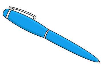 Blue pen. Doodle style illustration