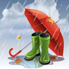 Vector illustration - Autumn background with red umbrella and green gumboots. EPS 10
