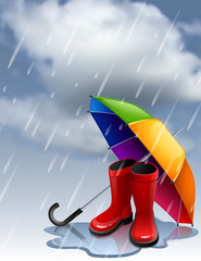 Vector illustration - Autumn background with rainbow umbrella and red gumboots. EPS 10