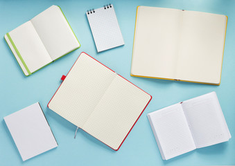 open notebook at abstract background
