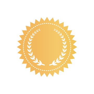 Round Gold Certificate Logotype with Laurel Wreath