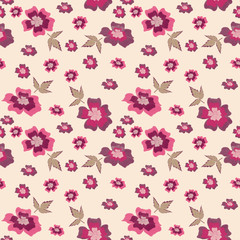 Seamless pattern with flowers. On a beige background a floral pattern.