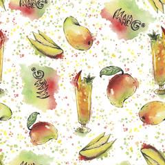 Watercolor mango pattern