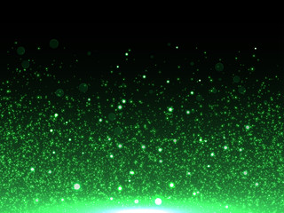 Green glitter particles vector abstract shiny background of star dust with glittery bokeh light effect