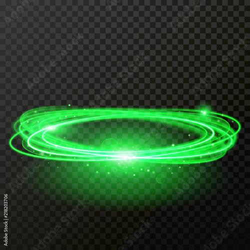 Green neon light abstract circles shine  Vector shiny trace