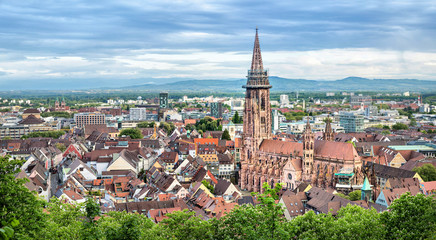 Aerial panorama of Freiburg im Breisgau with Cathedral on foreground, Germany Fototapete