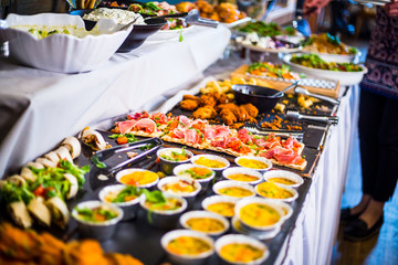 Photo sur Toile Buffet, Bar Breakfast Buffet Concept, Breakfast Time in Luxury Hotel, Brunch with Family in Restaurant