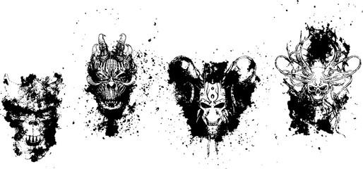 悪魔の墨絵アート