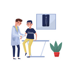 Male doctor traumatologist examining injured patient with broken arm in clinic, medical treatment and healthcare concept vector Illustration on a white background