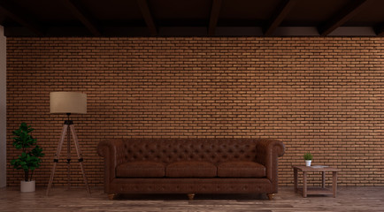 Living room wall brick with leather sofa,floor lamp,interior design  loft-style 3d rendering
