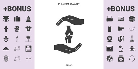 Hands holding knee-joint - protection symbol - graphic elements for your design