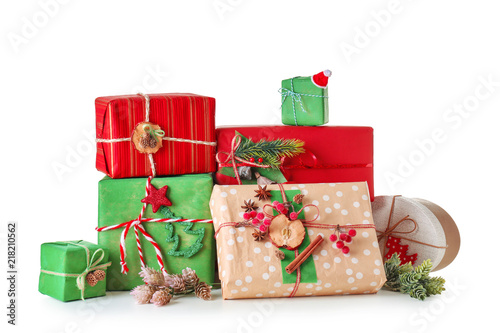 Beautiful Christmas gifts on white background\