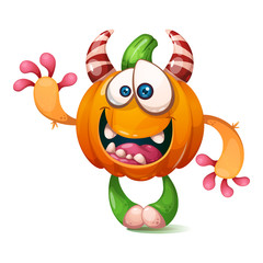 Cartoon, funny, crazy pumpkin characters. Halloween illustration Vector eps 10