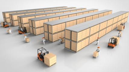 物流倉庫で働く人たち 全景