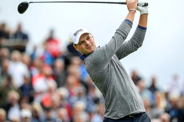 Germany's Martin Kaymer watches his ball on the first tee during the first round of Nordea Masters at Hills Golf Club, Gothenburg
