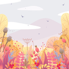 Floral Background with Autumn Leaves and Berries