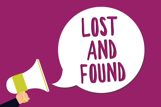 Word writing text Lost And Found. Business concept for Place where you can find forgotten things Search service Man holding megaphone loudspeaker speech bubble screaming purple background.