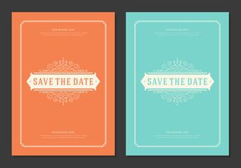 Wedding save the date invitation card vector illustration.