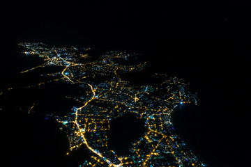 Buzios city at night from sky