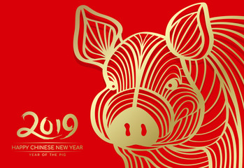 Happy Chinese new year 2019 and year of pig card with Gold head pig abstract line on red background vector design