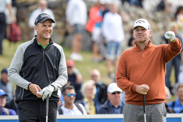 Sweden's Robert Karlsson and Thomas Bjorn of Denmark at the first tee during the first round of Nordea Masters at Hills Golf Club, Gothenburg