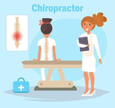 Chiropractor Cartoon. Isolated art Vector Art Doctor
