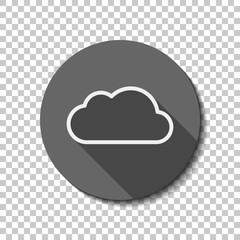 Simple cloud. Linear symbol with thin outline. flat icon, long s