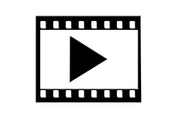 Movie symbol or video symbol or footage symbol isolated on white.