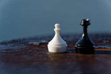 Macro chess pieces with defocused background