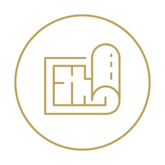 Vector plan icon with drops up for the architecture and engineering. Linear emblem for engineer business with outline style.