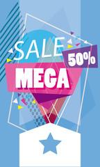 Mega sale discounts banner poster