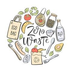 Zero waste hand written lettering. Eco lifestyle, vector design.