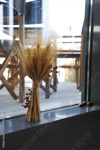 Deko Tischdeko Tischdekoration Vase Mit Stroh Strohbundel