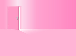 Girls nursery. Pink room with half open door to welcome your daughter, the baby girl, the little sister. Vector illustration.