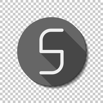 Number 5, numeral, fifth. flat icon, long shadow, circle, transp