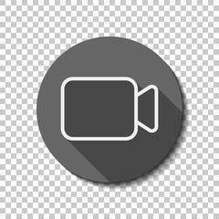 Video camera icon. Linear, thin outline. flat icon, long shadow,