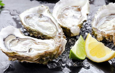 open fresh oysters with slices of lemon on slate background