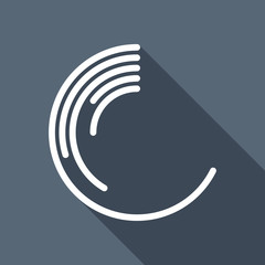 Business pie chart icon. White flat icon with long shadow on bac