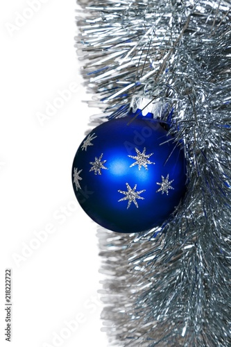 Blue Christmas Bauble On The Christmas Garland Isolated Stock