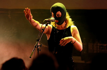 Maria Alyokhina of Pussy Riot performs at the Edinburgh Fringe, in Edinburgh