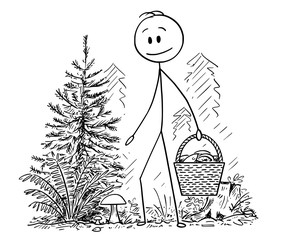 Cartoon stick drawing conceptual illustration of man picking eatable bolote mushroom in forest and holding full basket of mushrooms.
