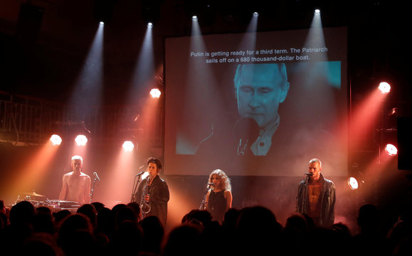 Pussy Riot performs at the Edinburgh Fringe, in Edinburgh