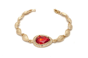 Wall Mural - golden bracelet with ruby and diamonds isolated on white