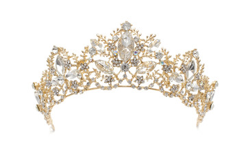 Wall Mural - gold diadem with diamonds isolated on white