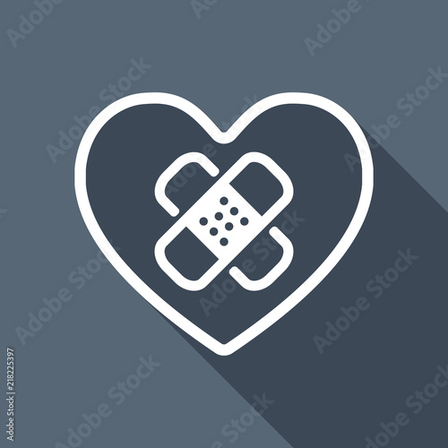 Broken Heart With Patch Linear Symbol With Thin Outline Simple