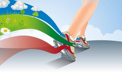 Illustration de jambes féminines en Basket vue arrière en train de courir laissant une trainée