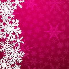 Christmas illustration with big white snowflakes with shadows on purple background
